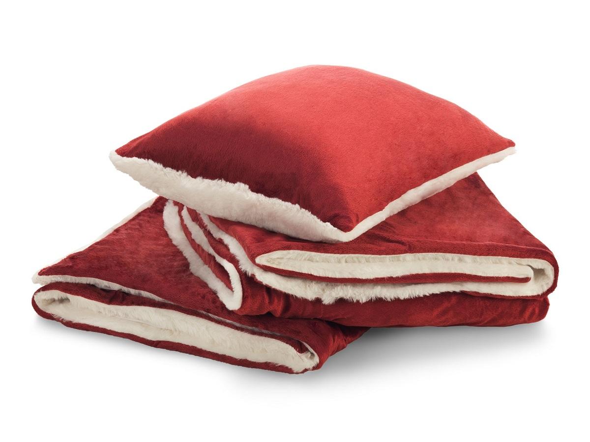 Sada polštáře a přikrývky Warm Hug červená 130x190
