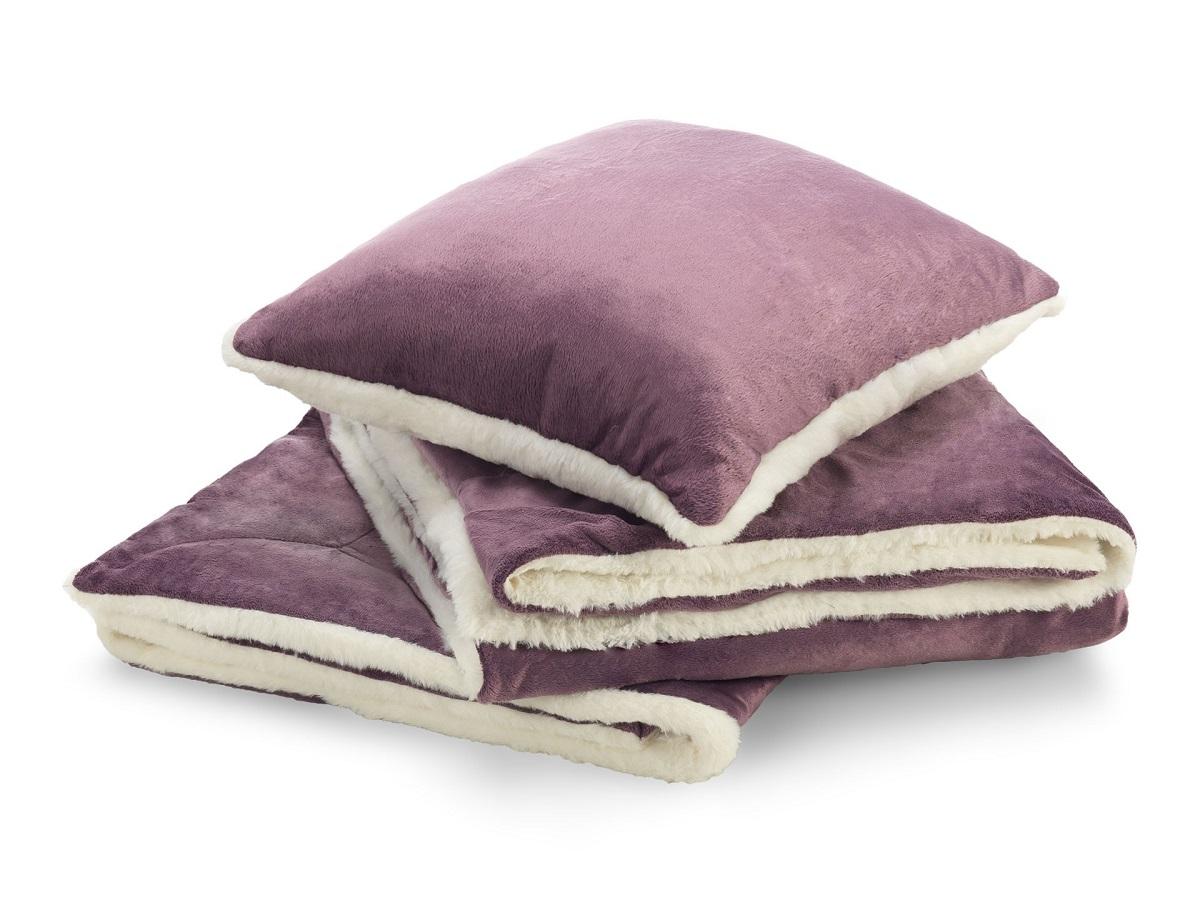 Sada polštáře a přikrývky Warm Hug fialová 130x190